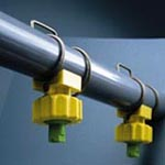 "Corrosion-resistant spray systems with adjustable ""clip-on"" nozzles"